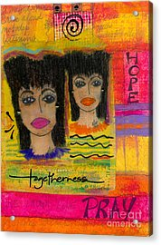 The Angels Of Hope And Prayer Acrylic Print by Angela L Walker