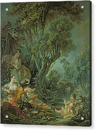 The Angler Acrylic Print by Francois Boucher