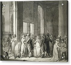 The Arcades At The Palais Royal Acrylic Print by Louis Leopold Boilly