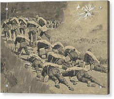 The Artful Dodgers  Shrapnel Coming Down The Road Acrylic Print by Frederic Remington