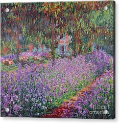 The Artists Garden At Giverny Acrylic Print by Claude Monet