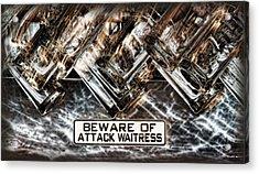 The Attack Waitress  Acrylic Print by Joan  Minchak