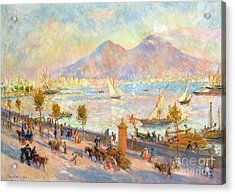 The Bay Of Naples With Vesuvius In The Background Acrylic Print by Pierre Auguste Renoir