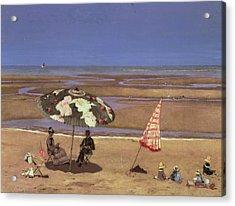 The Beach Acrylic Print by Etienne Moreau Nelaton