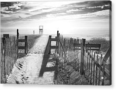 The Beach In Black And White Acrylic Print by Dapixara Art