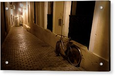 The Bicycle And The Brick Road Acrylic Print by DigiArt Diaries by Vicky B Fuller