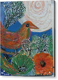 The Bird Is The Word Acrylic Print by Anne-Elizabeth Whiteway