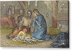 The Birth Of Jesus Christ  Acrylic Print by French School