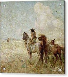 The Bison Hunters Acrylic Print by Nathaniel Hughes John Baird