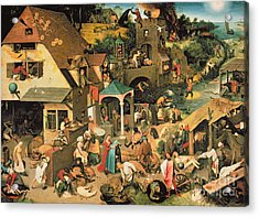 The Blue Cloak Acrylic Print by Pieter the Elder Bruegel