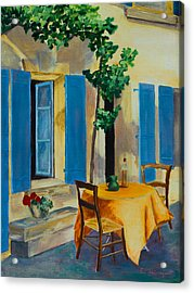 The Blue Shutters Acrylic Print by Elise Palmigiani