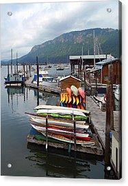 The Boats Of Cowachin Bay Acrylic Print by Gary Olsen-Hasek