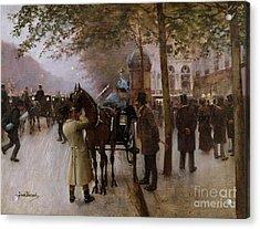 The Boulevards Acrylic Print by Jean Beraud