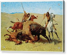 The Buffalo Hunt Acrylic Print by Frederic Remington