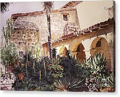The Cactus Courtyard - Mission Santa Barbara Acrylic Print by David Lloyd Glover