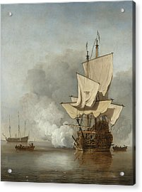 The Cannon Shot Acrylic Print by Willem Van De Velde The Younger