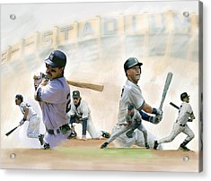 The Captains II Don Mattingly And Derek Jeter Acrylic Print by Iconic Images Art Gallery David Pucciarelli