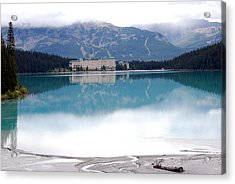 The Chateau At Lake Louise Acrylic Print by Harvey Barrison