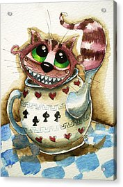 The Cheshire Cat - In A Teapot Acrylic Print by Lucia Stewart