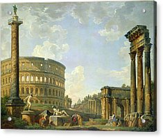 The Colosseum And Other Monuments Acrylic Print by Giovanni Paolo Panini