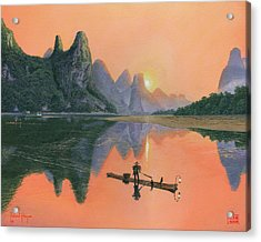 The Cormorant Fisherman Li River Guilin China  Acrylic Print by Richard Harpum