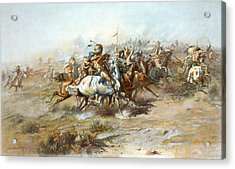 The Custer Fight Acrylic Print by Charles Russell