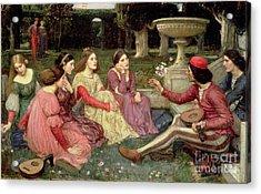 The Decameron Acrylic Print by John William Waterhouse