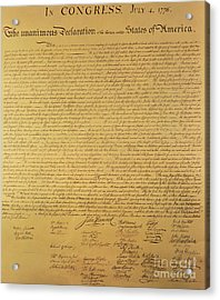 The Declaration Of Independence Acrylic Print by Founding Fathers