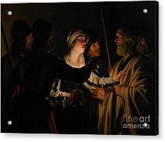 The Denial Of St Peter Acrylic Print by Gerrit van Honthorst