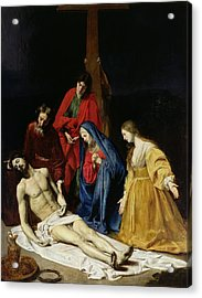 The Descent From The Cross Acrylic Print by Nicolas Tournier