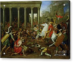 The Destruction Of The Temples In Jerusalem By Titus Acrylic Print by Nicolas Poussin