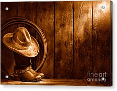 The Dirty Hat - Sepia Acrylic Print by Olivier Le Queinec
