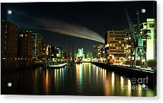 The Docks Of Hamburg By Night Acrylic Print by Rob Hawkins