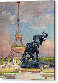 The Eiffel Tower And The Elephant By Fremiet Acrylic Print by Jules Ernest Renoux