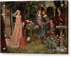 The Enchanted Garden Acrylic Print by John William Waterhouse
