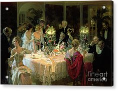 The End Of Dinner Acrylic Print by Jules Alexandre Grun