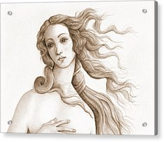 The Face Of A Goddess In Sepia Acrylic Print by Stevie the floating artist