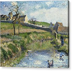 The Farm At Osny Acrylic Print by Camille Pissarro