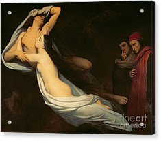 The Figures Of Francesca Da Rimini And Paolo Da Verrucchio Appear To Dante And Virgil Acrylic Print by Ary Scheffer