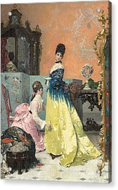 The Fitting Acrylic Print by Alfred Emile Stevens