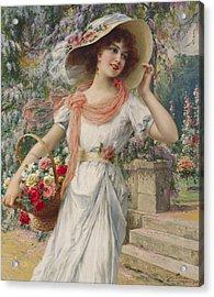 The Flower Girl Acrylic Print by Emile Vernon