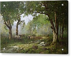 The Forest Of Fontainebleau Acrylic Print by Leon Richet