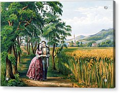 The Four Seasons Of Life  Youth  The Season Of Love Acrylic Print by Currier and Ives