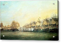 The Fourth Action Off Trincomalee Between The English And The French Acrylic Print by Dominic Serres