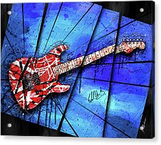 The Frankenstrat On Blue I Acrylic Print by Gary Bodnar