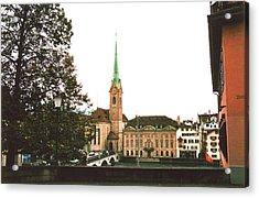 The Fraumunster Abbey In Zurich Switzerland Acrylic Print by Susanne Van Hulst