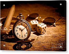 The Gambler's Watch - Sepia Acrylic Print by Olivier Le Queinec