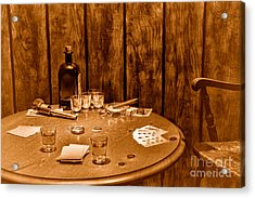 The Gambling Table - Sepia Acrylic Print by Olivier Le Queinec