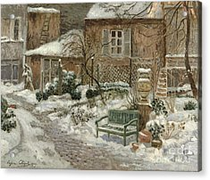 The Garden Under Snow Acrylic Print by Eugene Chigot