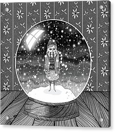 The Girl In The Snow Globe  Acrylic Print by Andrew Hitchen